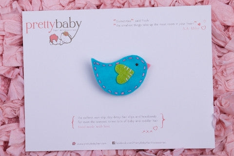 Little Blue Birdie Toddler Hair Clip