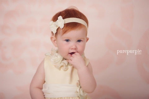 cream christening bow headband hairband uk ireland