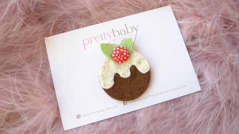 Christmas pudding baby hair clip