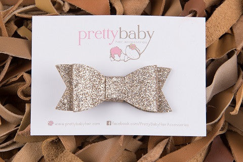 Champagne Gold Glitter Bow Toddler Hair Clip