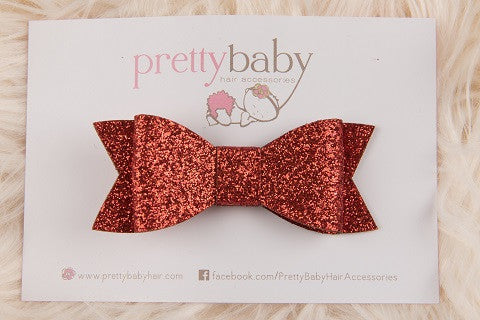 Red Glitter Bow Toddler Hair Clip