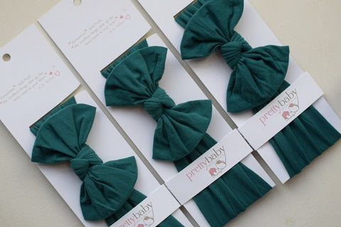 Forest Green Top Knot Bow Baby Headband