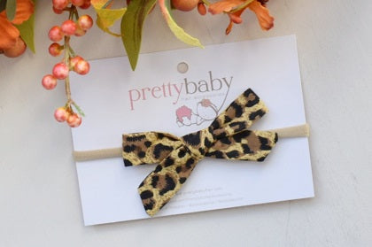 leopard print bow baby headband, animal print bow for babies, leopard print bow