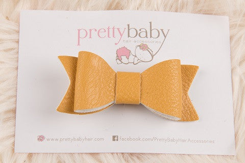 Mustard Bow Toddler Hair Clip