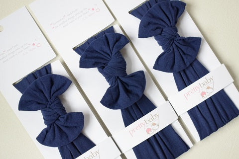 Navy Top Knot Baby Headband