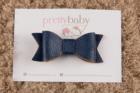 Navy Bow Toddler Hair Clip