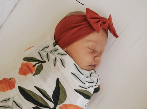 Burnt Orange Top Knot Bow Baby Headband