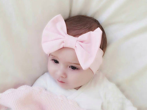 pink bow baby headband, pink baby bow, pink baby hairband, big bow headband for babies, uk ireland