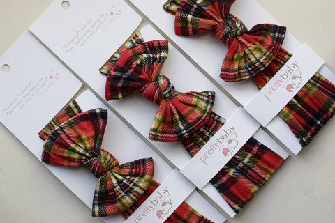 red tartan christmas baby bow, baby top knot bow headband, christmas bow for baby