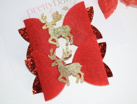 Christmas Glittering Reindeer Bow
