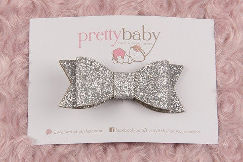 Silver Bow Toddler Hair Clip