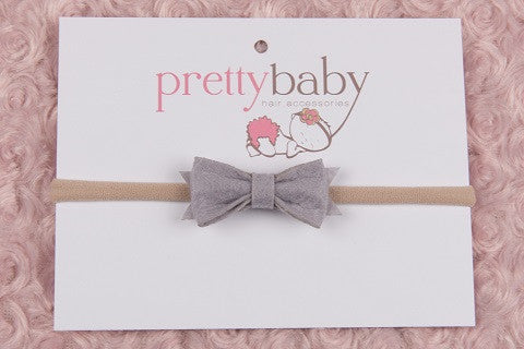 Light Grey Bow Headband