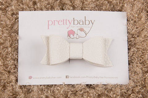 White Bow Toddler Hair Clip