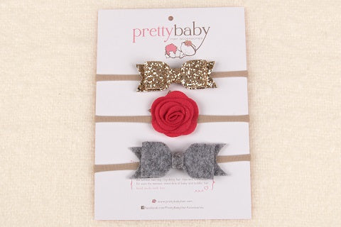 ab41ee04f3ce Pretty Baby Hair Accessories. Christmas Baby Headband Set Special Edition