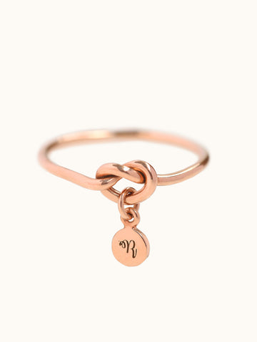 Knotted Heart Ring with Engravable Charm