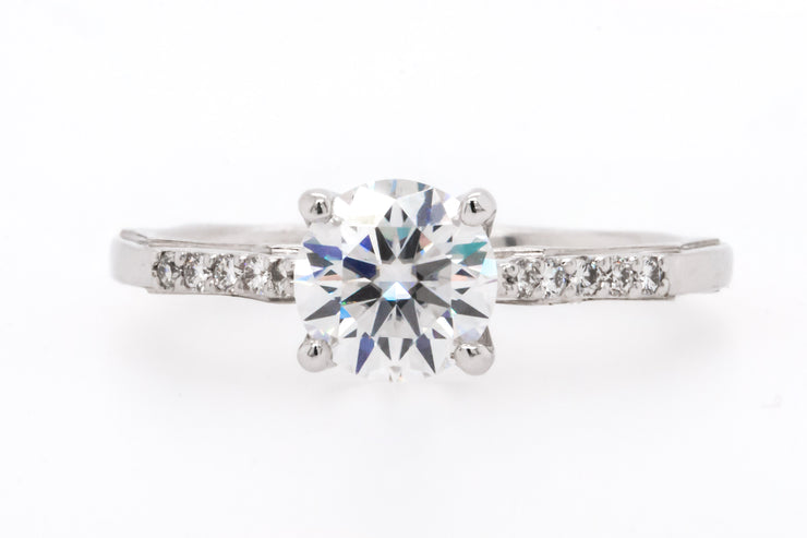 Newport Jewelers 14K-White-Gold 1.17CT Diamond, Prong Side-Stone-Setting Engagement Ring.