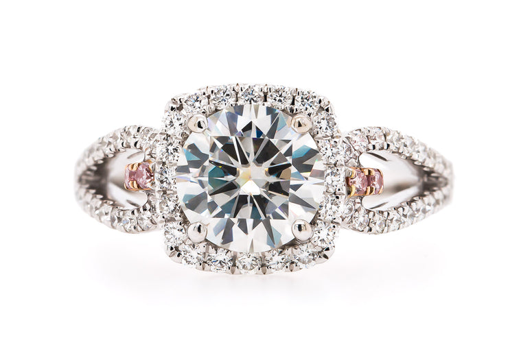 Newport Jewelers 18K-White-Gold 1.07CT Diamond, Halo Prong Vintage-Setting Engagement Ring.