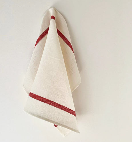 Thick Linen Kitchen Cloth – White and Red