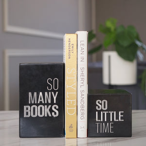 Black Marble Engraved Bookend, A Set of 2