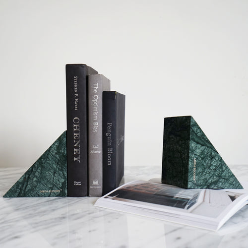 Green Triangle Marble Bookend, A Set of 2