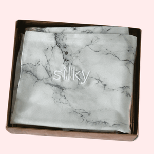 Slinky Silk - Marble-100% Pure Mulberry Quality 6A Grade Silk Pillowcase set. Improve and Revolutionalise your skin, hair, life regime with Slinky Silk Pillowcase.