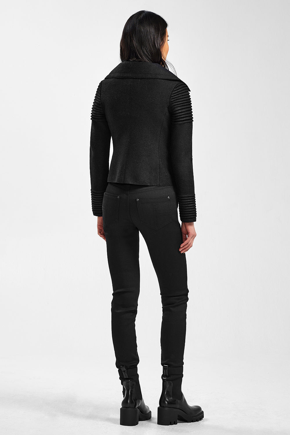 Sentaler Bomber Jacket with Ribbed Shoulders and Cuffs featured in Superfine Alpaca and available in Black. Seen from back.