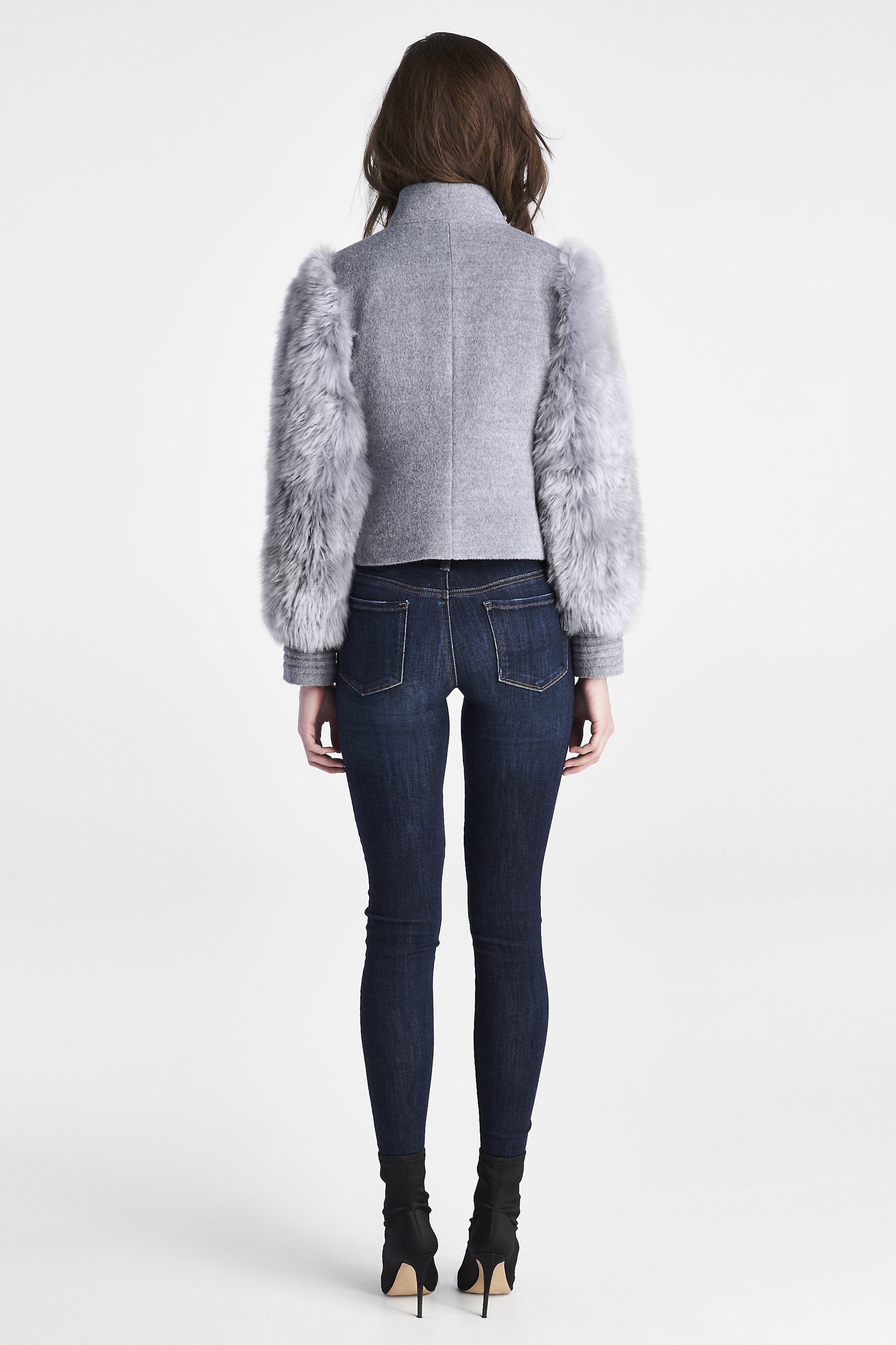 Bomber Jacket with Fur Sleeves, Shale Grey