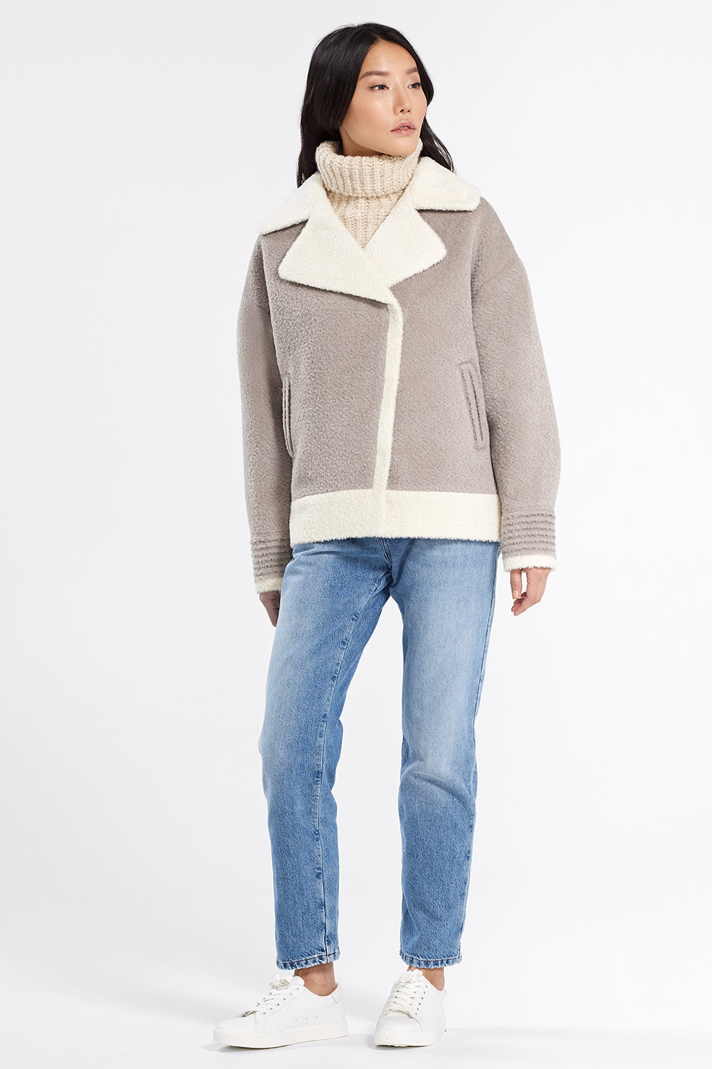 Sentaler Bouclé Alpaca Dropped Shoulder Boyfriend Jacket featured in Bouclé Alpaca and available in Sand. Seen from front.