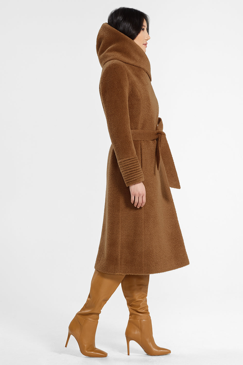Sentaler Bouclé Alpaca Long Hooded Wrap Coat featured in Bouclé Alpaca and available in Caramel Café. Seen from side.