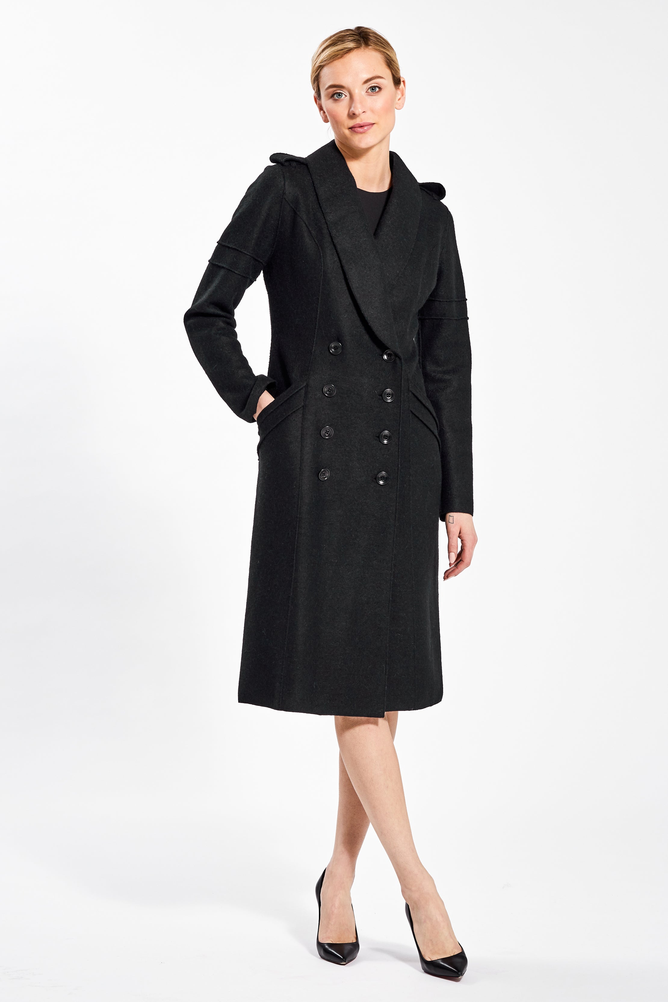 Double Breasted Fitted Coat Black