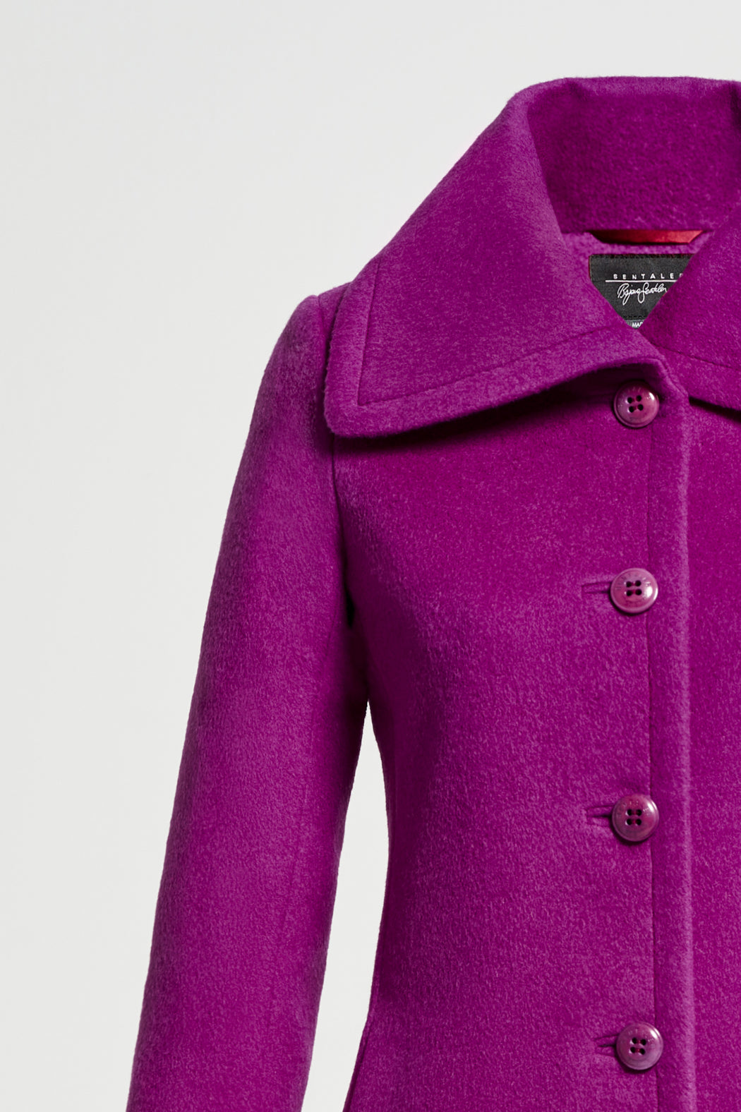Fitted Coat with Wide Collar
