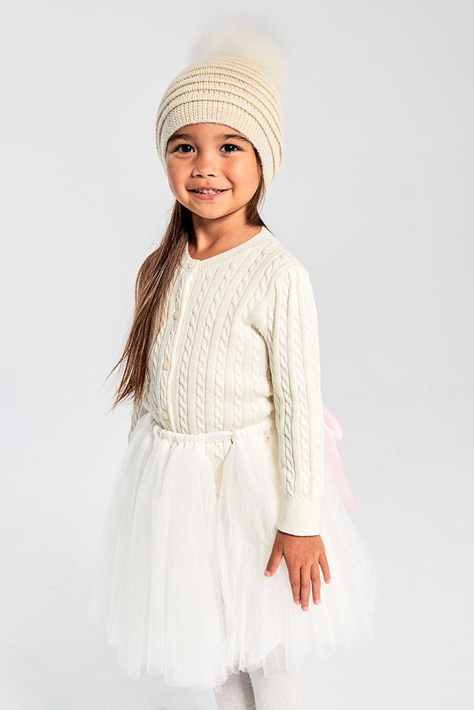Kids Ribbed Hat with Oversized Fur Pompon, Ivory