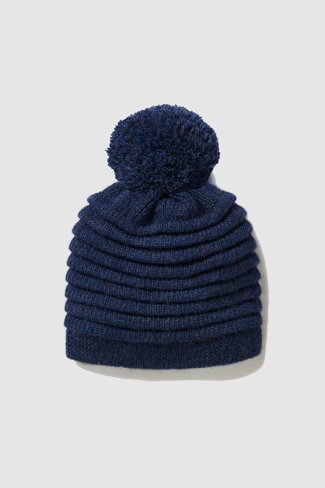 Kids Ribbed Hat with Oversized Knit Pompon, Navy