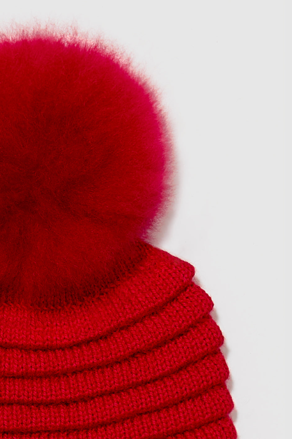 Kids Ribbed Hat with Oversized Fur Pompon, Red
