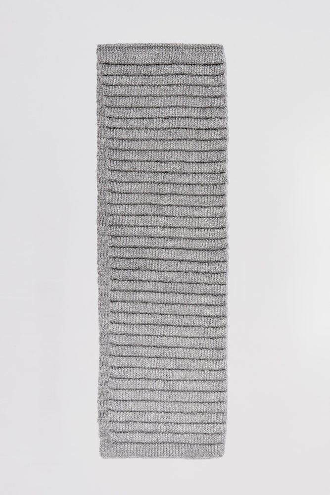 Kids Ribbed Scarf, Grey