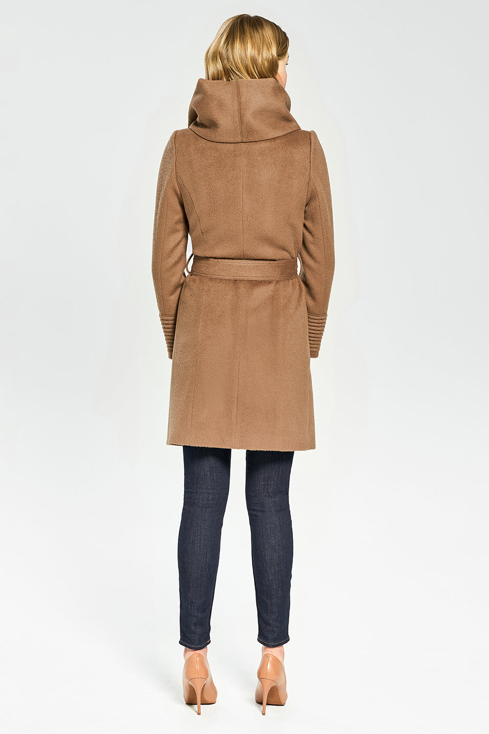 Sentaler Mid Length Hooded Wrap Coat featured in Baby Alpaca and available in Dark Camel. Seen from back.