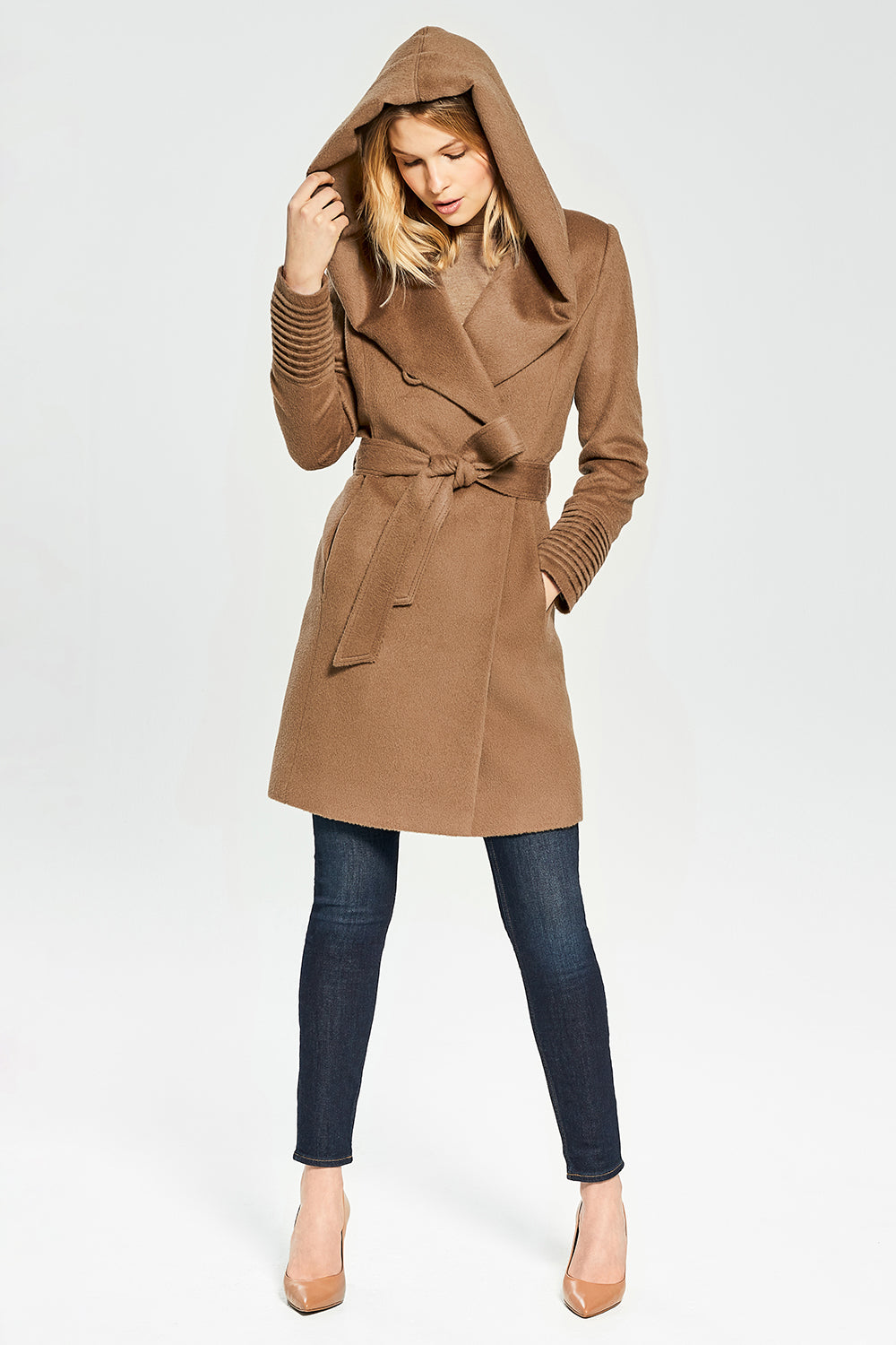 Sentaler Mid Length Hooded Wrap Coat featured in Baby Alpaca and available in Dark Camel. Seen from front.