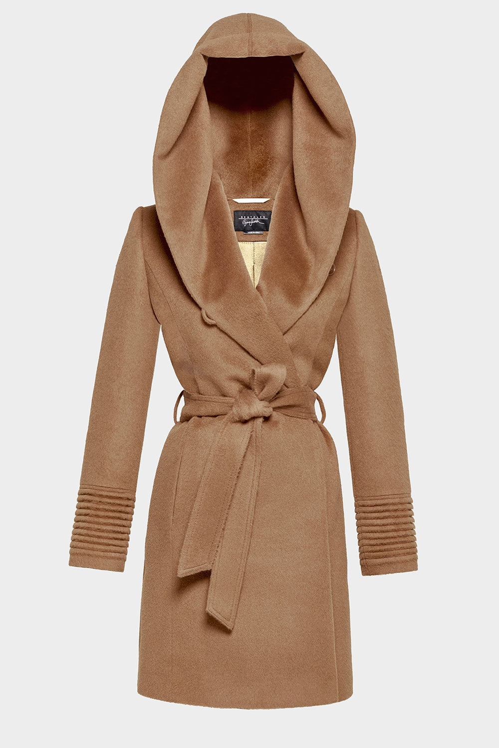 Sentaler Mid Length Hooded Wrap Coat featured in Baby Alpaca and available in Dark Camel. Seen off model.