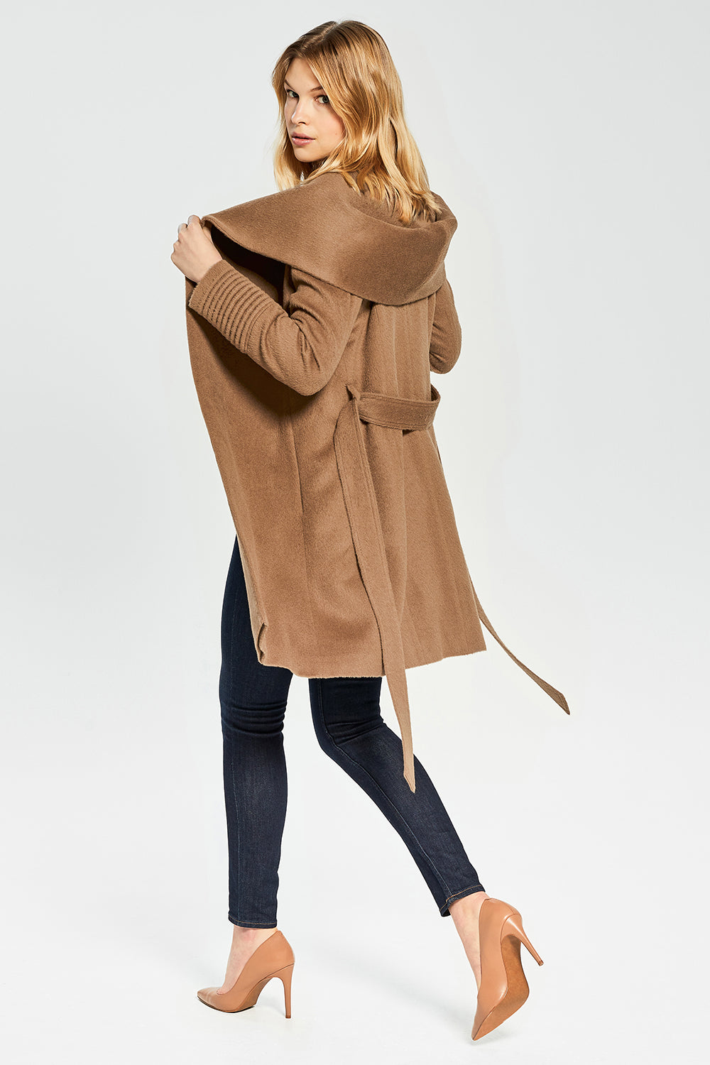 Sentaler Mid Length Hooded Wrap Coat featured in Baby Alpaca and available in Dark Camel. Seen open.