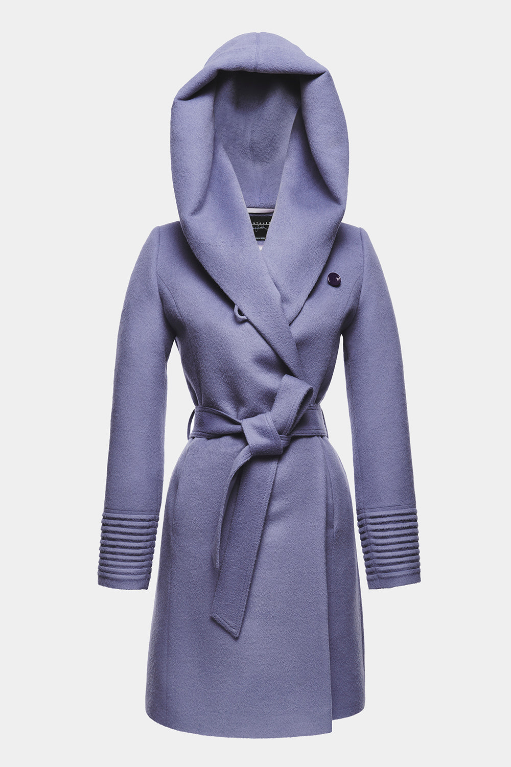 Sentaler Mid Length Hooded Wrap Coat featured in Baby Alpaca and available in Lilac. Seen off model.