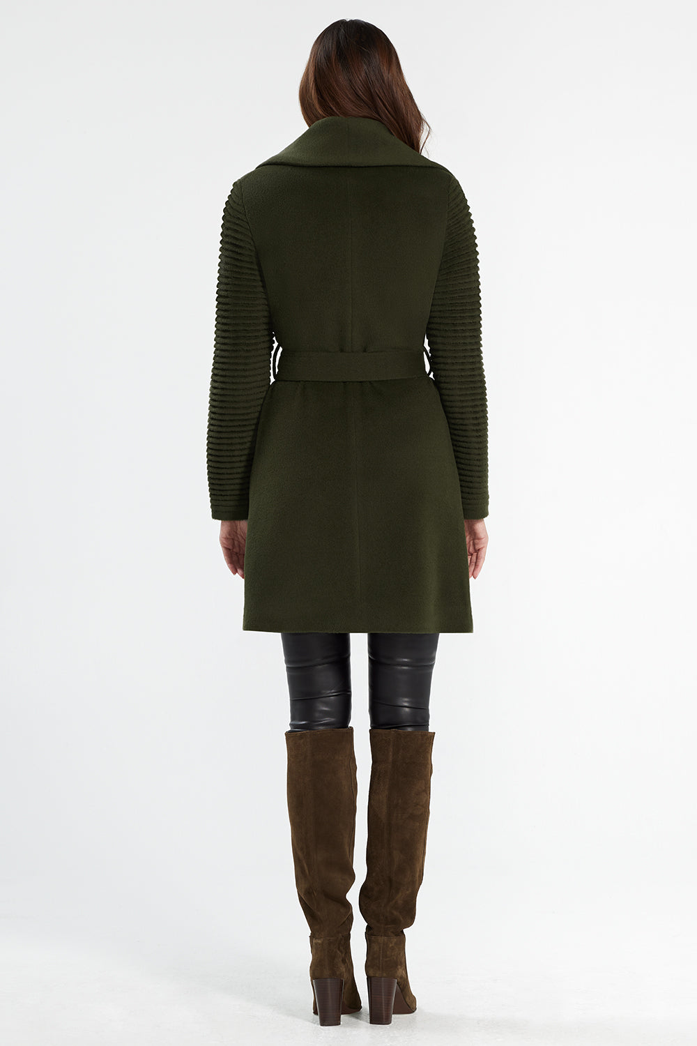 Sentaler Mid Length Shawl Collar Wrap Coat with Ribbed Sleeves featured in Baby Alpaca and available in Olive. Seen from back.