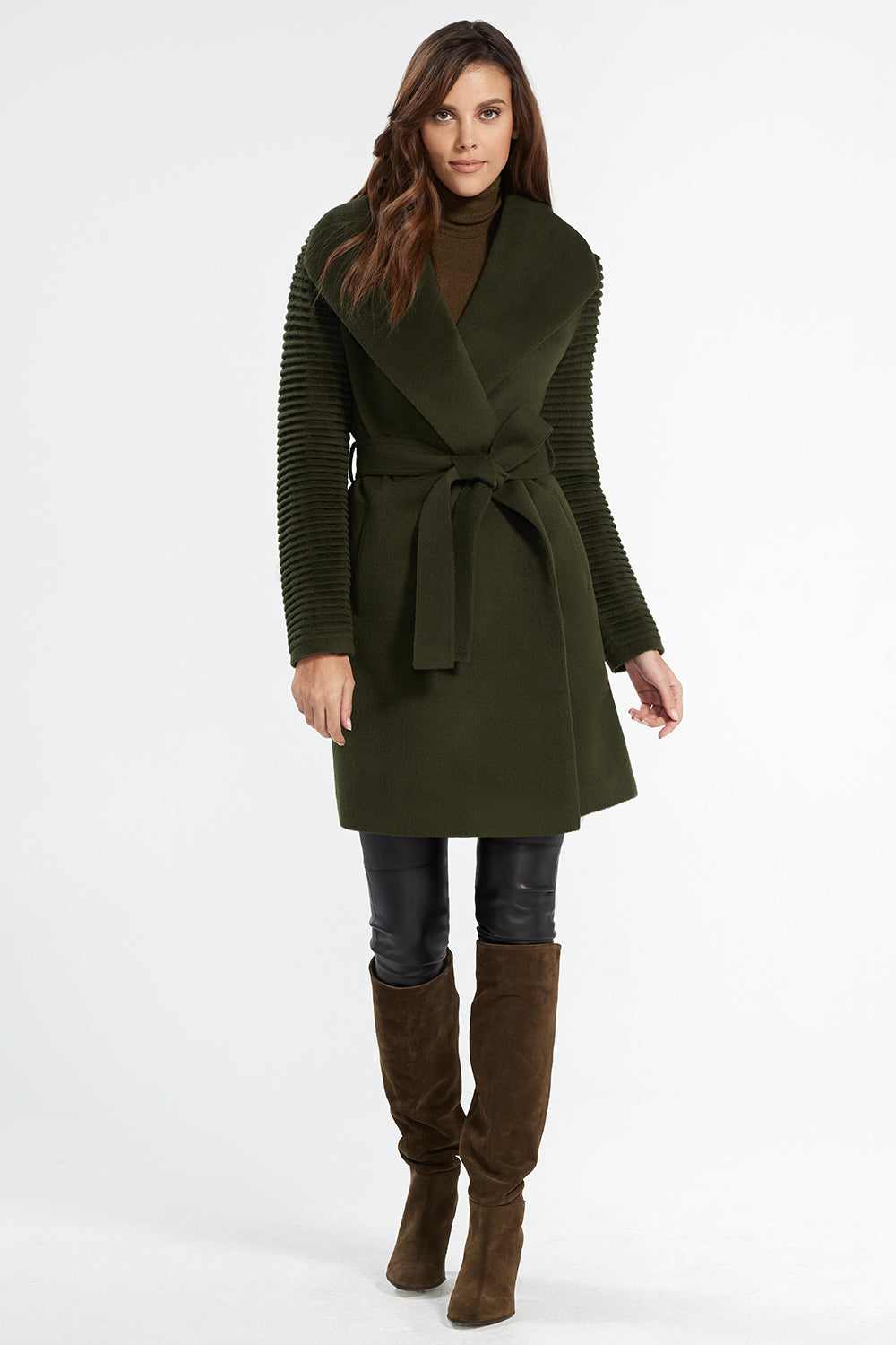 Sentaler Mid Length Shawl Collar Wrap Coat with Ribbed Sleeves featured in Baby Alpaca and available in Olive. Seen from front.