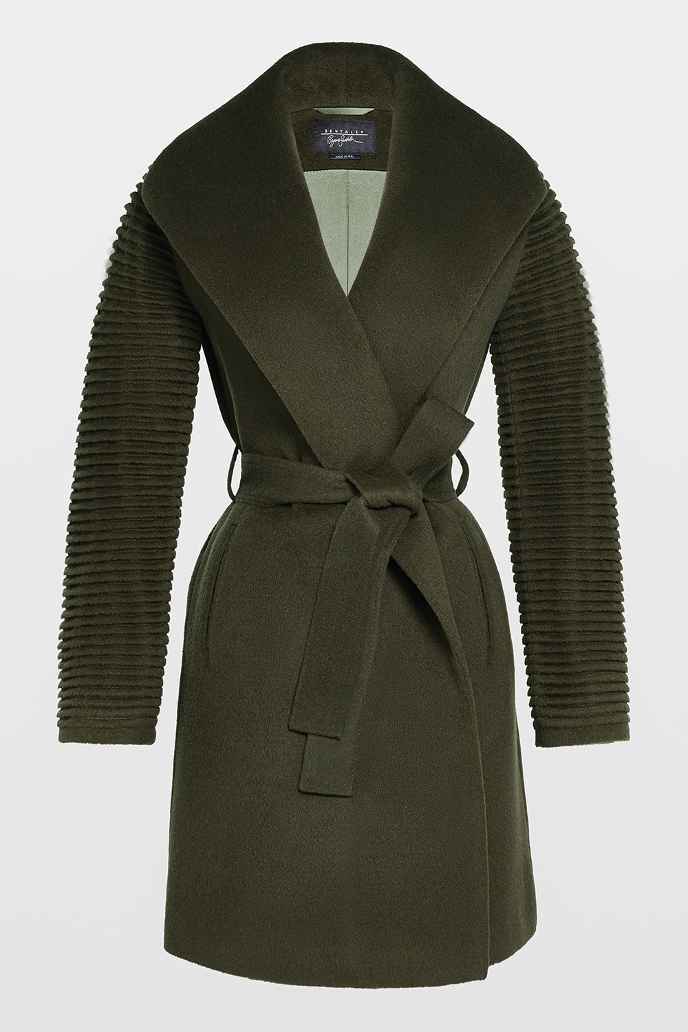 Sentaler Mid Length Shawl Collar Wrap Coat with Ribbed Sleeves featured in Baby Alpaca and available in Olive. Seen off model.