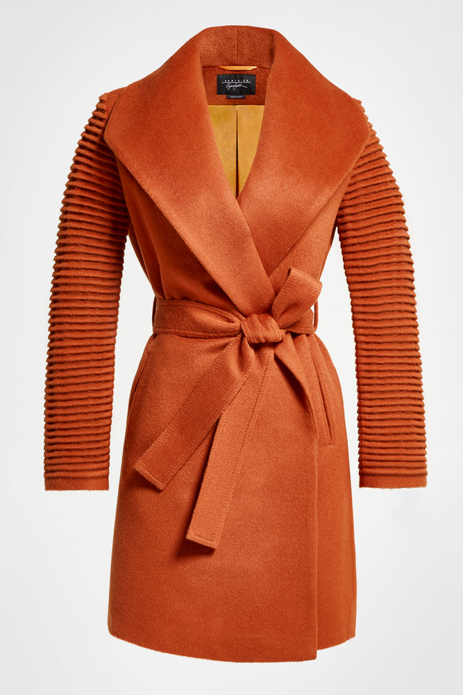 Mid Length Shawl Collar Wrap Coat with Ribbed Sleeves, Burnt Orange