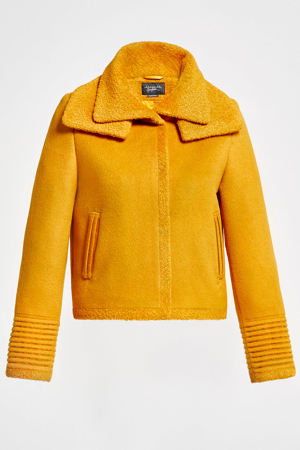 Sentaler Moto Jacket with Signature Double Collar featured in Baby Alpaca and available in Tuscan Sun. Seen off model.
