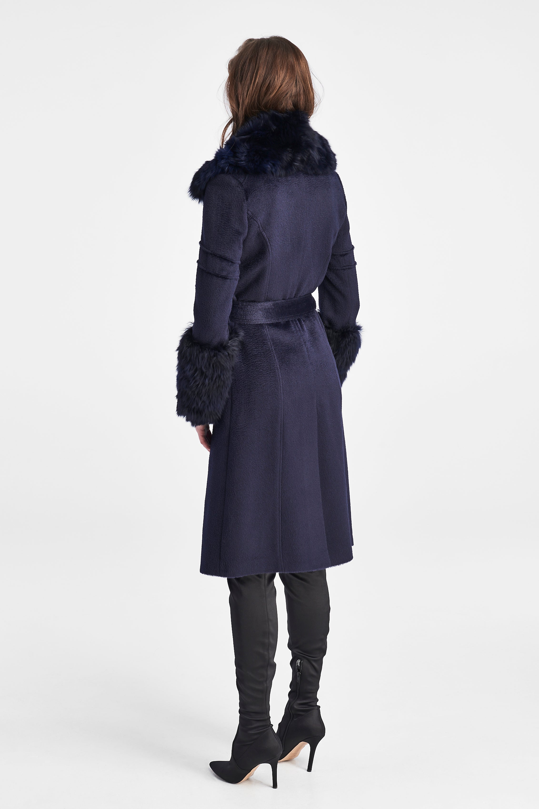 Notched Collar Wrap Coat with Fur Collar and Cuffs, Navy