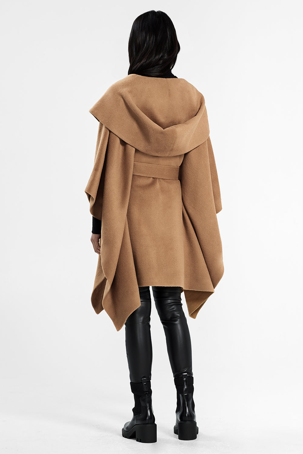 Sentaler Oversized Hooded Poncho with Belt featured in Baby Alpaca and available in Dark Camel. Seen from back.