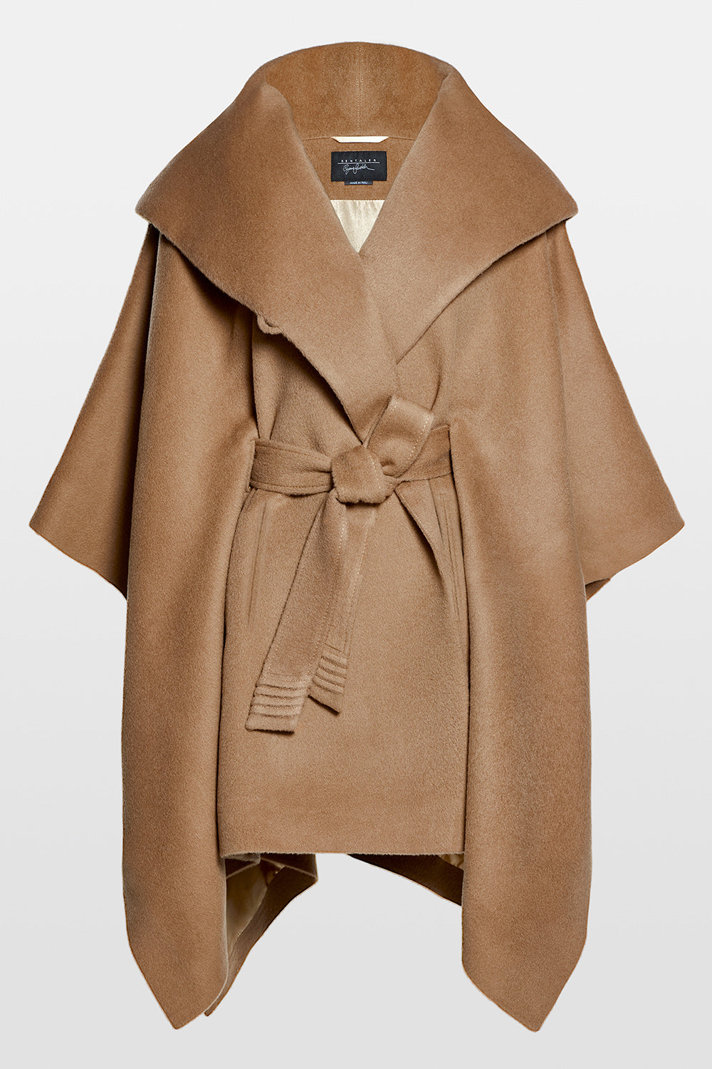 Sentaler Oversized Hooded Poncho with Belt featured in Baby Alpaca and available in Dark Camel. Seen off model.