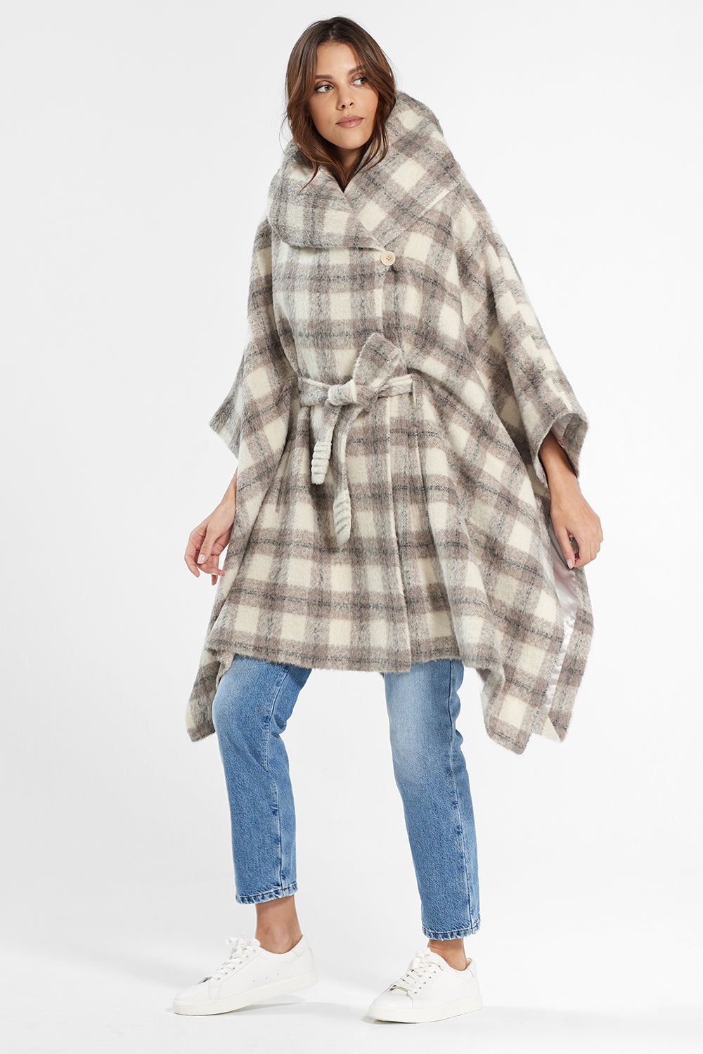 Sentaler Plaid Oversized Hooded Poncho with Belt featured in Suri Alpaca and available in Ecru Plaid. Seen from side.