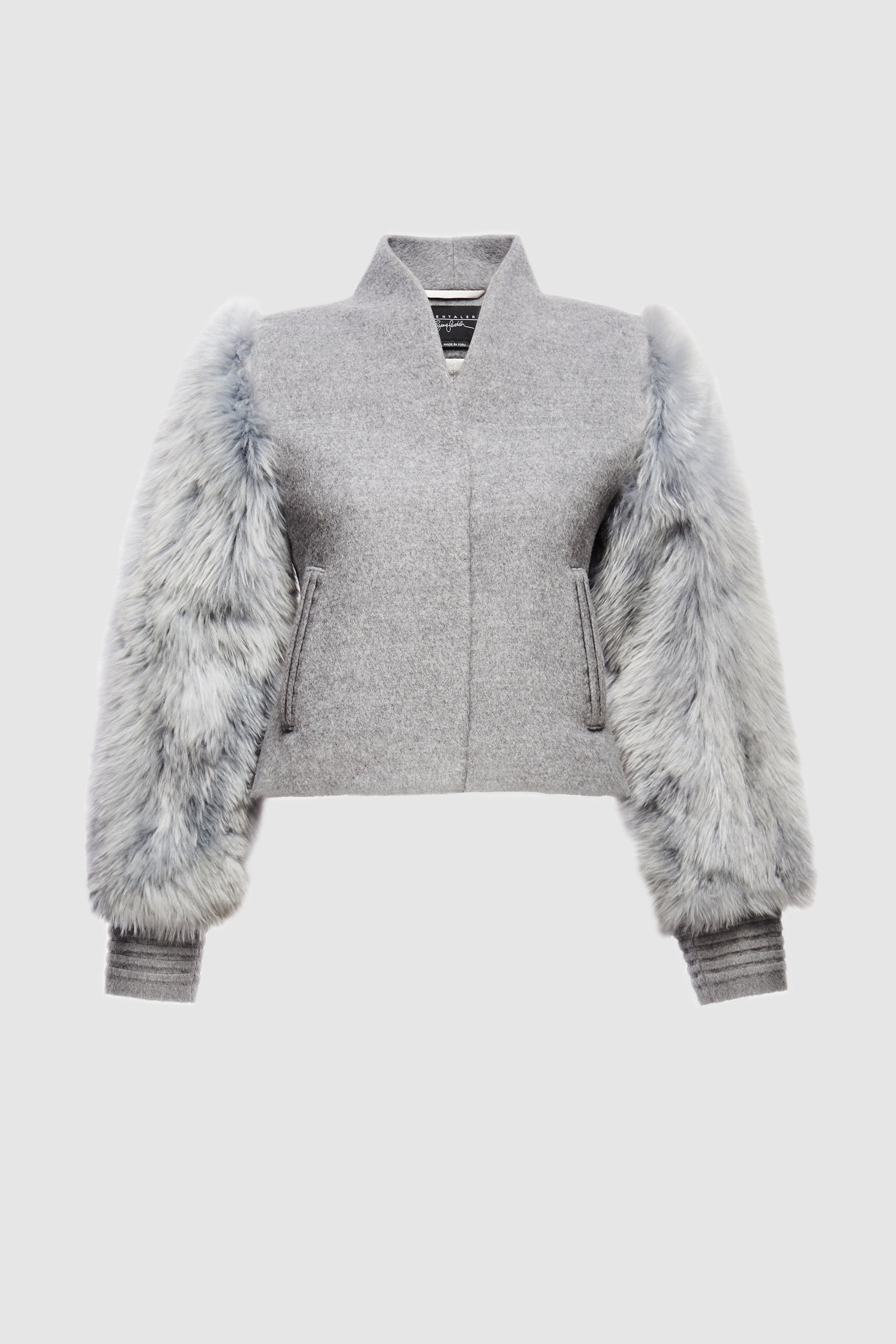 Bomber Jacket with Fur Sleeves